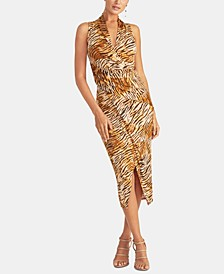 Animal-Print Faux-Wrap Dress