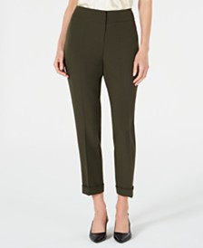 Kasper Stretch-Cuff Ankle Pants