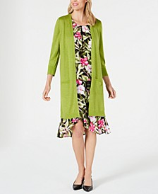 Open-Front Duster Jacket, Tropical-Print Blouse & Tulip Skirt