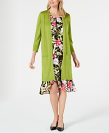Kasper Open-Front Duster Jacket, Tropical-Print Blouse & Tulip Skirt