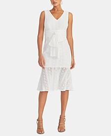 Stretch-Lace Flounce-Hem Sheath Dress
