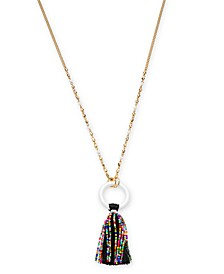 """INC Gold-Tone Beaded Tassel Pendant Necklace, 32"""" + 3"""" extender, Created for Macy's"""