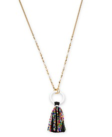 """I.N.C. Gold-Tone Beaded Tassel Pendant Necklace, 32"""" + 3"""" extender, Created for Macy's"""