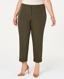 Kasper  Plus Size Cuffed Ankle Pants