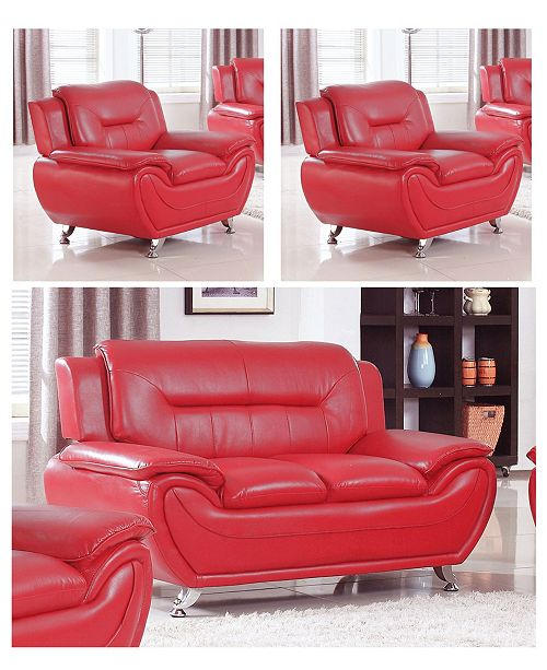 US Furnishings Express Elliot Collection Faux Leather Loveseat and Chair Set, 3 Piece