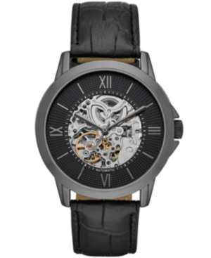 Mens Black Strap Automatic Watch 44mm