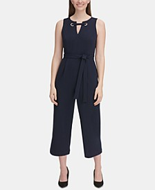 Petite Embellished Cropped Jumpsuit