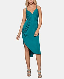 Draped High-Low Midi Dress