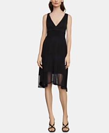 BCBGMAXAZRIA Mesh Fit & Flare Dress