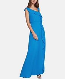 BCBGMAXAZRIA Asymmetrical-Ruffle Column Dress