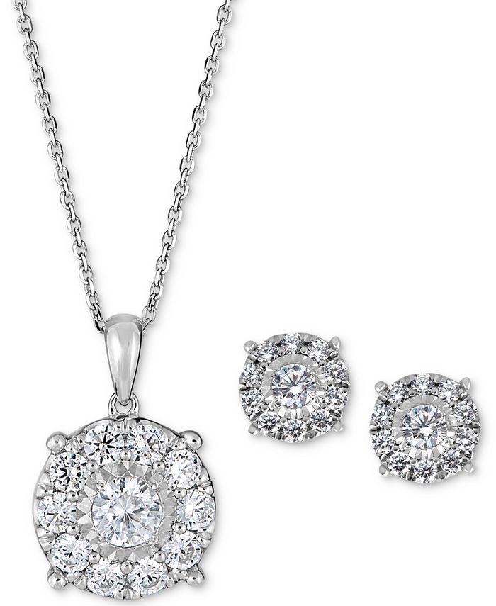 Macy's - 2-Pc. Set Diamond (2 ct. t.w.) Pendant Necklace & Stud Earrings in 14k Gold