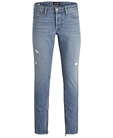 Jack and Jones Men's Slim Fit Light Glenn Jeans With Zipped Ankles
