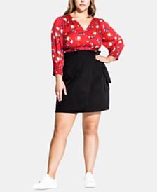 City Chic Trendy Plus Size Cotton Wrap Skirt