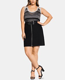 City Chic Trendy Plus Size Zip-Front Buckled Skirt