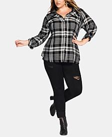 Trendy Plus Size Plaid Shirt
