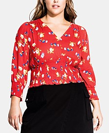 Trendy Plus Size Summer Floral Top