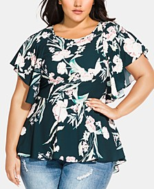 Trendy Plus Size Floral-Print High-Low Top