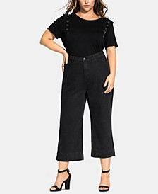 Trendy Plus Size Washed Culotte Jeans