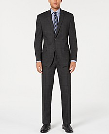 by Andrew Marc Men's Modern-Fit Stretch Gray/Blue Windowpane Suit