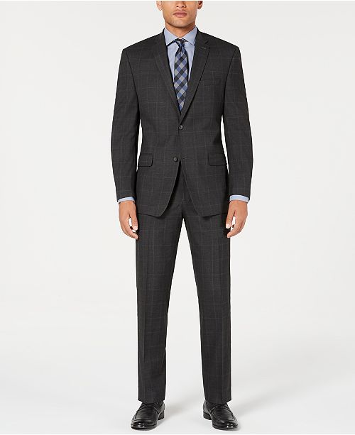Marc New York by Andrew Marc Men's Modern-Fit Stretch Gray/Blue Windowpane Suit