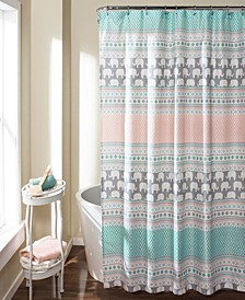 "Elephant Stripe 72"" x 72"" Shower Curtain"