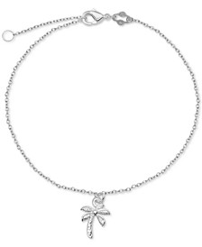Palm Tree Charm Chain Ankle Bracelet in Sterling Silver