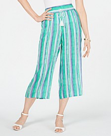 Striped Wide-Leg Capri Pants, Created for Macy's