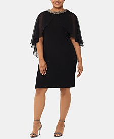 XSCAPE Plus Size Chiffon Capelet Dress