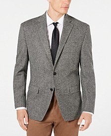 Men's Classic-Fit UltraFlex Stretch Black/White Herringbone Sport Coat