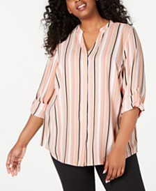 Alfani Plus Size Striped Utility Shirt, Created for Macy's
