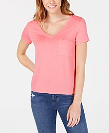 Juniors' V-Neck Pocket Tee