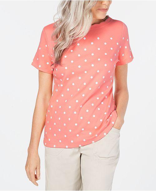 Karen Scott Petite Short-Sleeve Polka-Dot T-Shirt, Created for Macy's
