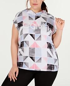 Calvin Klein Performance Plus Size Patchwork-Print Sleeveless Hoodie