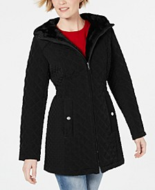 Petite Front Zip Hooded Quilted Coat