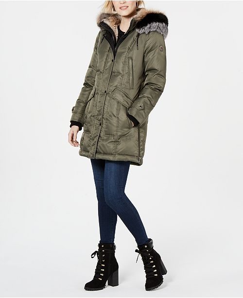 1 Madison Expedition Fox-Fur-Trim Hooded Parka