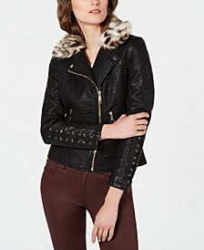 Faux-Leather Moto Jacket with Leopard-Print  Faux-Fur Collar