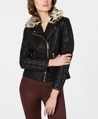 Faux Leather Moto Jacket With Leopard Print  Faux Fur Collar by General
