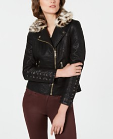GUESS Faux-Leather Moto Jacket with Leopard-Print  Faux-Fur Collar