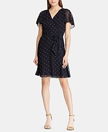 Polka-Dot-Print Georgette Cape-Overlay Dress