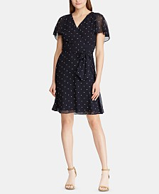 Lauren Ralph Lauren Polka-Dot-Print Georgette Cape-Overlay Dress