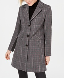 I.N.C. Plaid Walker Coat, Created for Macy's