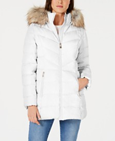 I.N.C. Faux-Fur Trim Hooded Puffer Coat, Created for Macy's