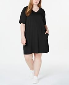 Eileen Fisher Plus Size Organic V-Neck Dress