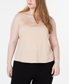 Eileen Fisher Plus Size Scoop-Neckline Tencel Top