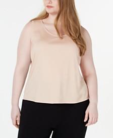 Eileen Fisher Plus Size Scoop-Neckline Tencel Top