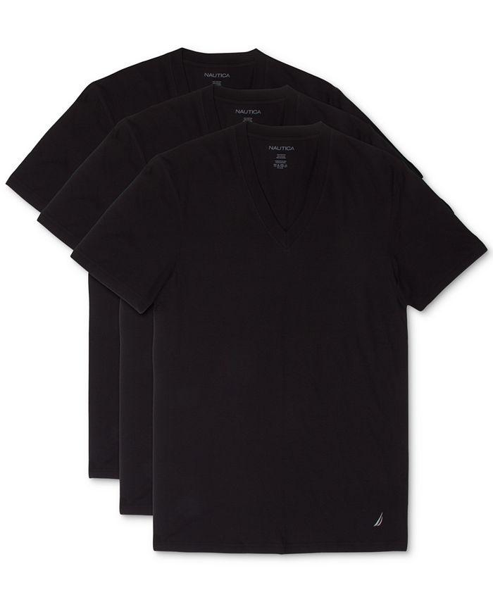 Nautica - Men's 3-Pk. Cotton V-Neck Undershirts