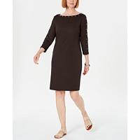 Deals on Karen Scott Womens Sport Cotton Studded 3/4-Sleeve Shift Dress