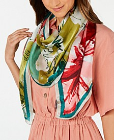 Waterpastel Floral Silk Oblong Scarf