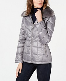 Faux-Fur Collar Puffer Coat