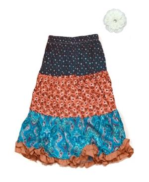 Mi Amore Gigi Big Girls Longer Length Peasant Skirt and Hair Accessory